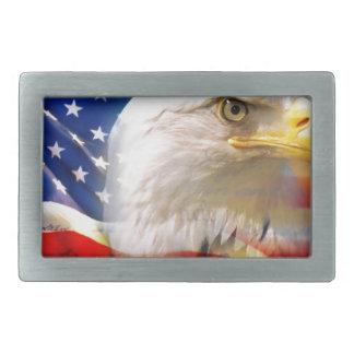 American Flag with Bald Eagle Rectangular Belt Buckles