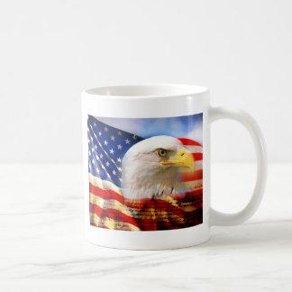 American Flag with Bald Eagle Classic White Coffee Mug