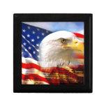 American Flag with Bald Eagle Keepsake Box