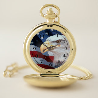 American Flag with Bald Eagle Pocket Watch