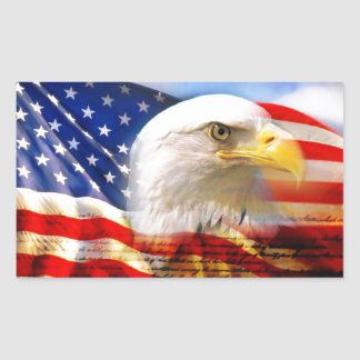 American Flag with Bald Eagle Rectangular Sticker