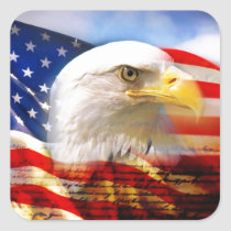 American Flag with Bald Eagle Square Sticker