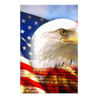 American Flag with Bald Eagle Stationery