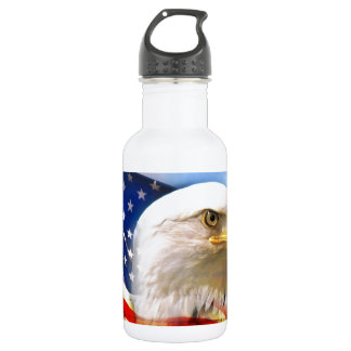 American Flag with Bald Eagle Water Bottle