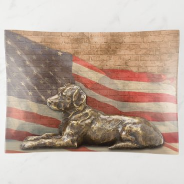 American Flag with Bronze Dog Large Trinket Tray