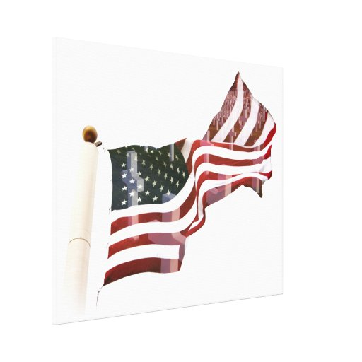 American Flag with Crosses Canvas Print