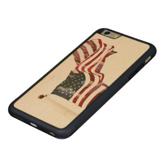 American Flag with Crosses Carved® Maple iPhone 6 Plus Bumper Case
