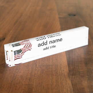 American Flag with Crosses Desk Name Plate