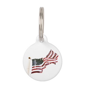 American Flag with Crosses Pet Name Tags
