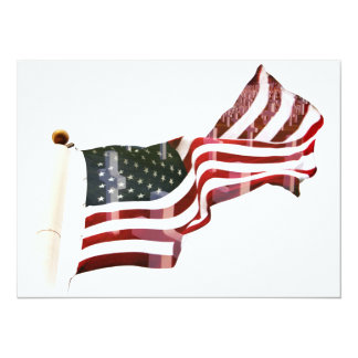 American Flag with Crosses 5.5x7.5 Paper Invitation Card