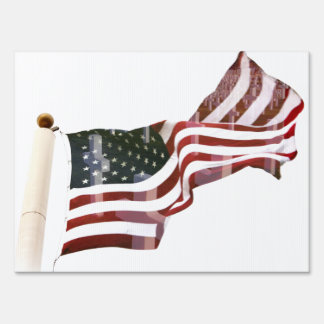 American Flag with Crosses Yard Signs