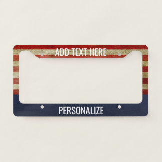 american flag with custom add 2 lines text license plate frame - Disney License Plate Frame