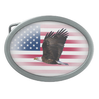 American Flag with Eagle Belt Buckle