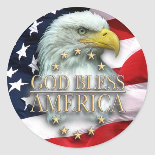 American Flag with Eagle God Bless America Classic Round Sticker