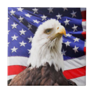 American Flag with Eagle Tile