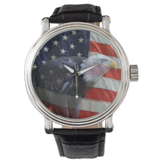 American Flag with Eagle Wrist Watches