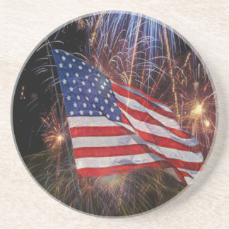 American Flag With Fireworks Background Design Sandstone Coaster