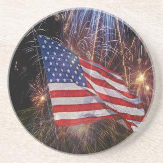 American Flag With Fireworks Background Design Sandstone Coaster