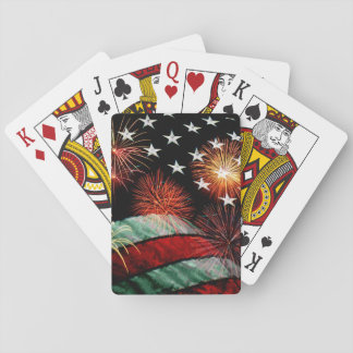 American flag with fireworks card deck