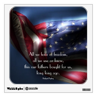 American Flag-with Freedom Quote Wall Skins