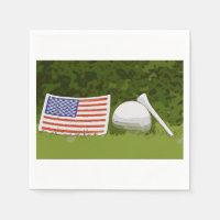 American Flag with golf ball Napkins