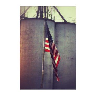 USA Themed American Flag with Grain Bins Acrylic Wall Art