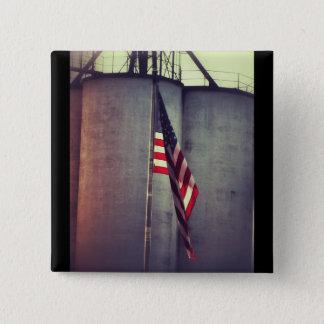 American Flag with Grain Bins Pinback Button