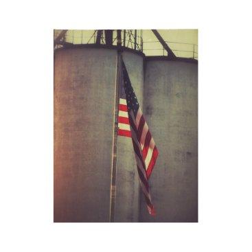 USA Themed American Flag with Grain Bins Wood Poster