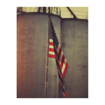 USA Themed American Flag with Grain Bins Wood Print