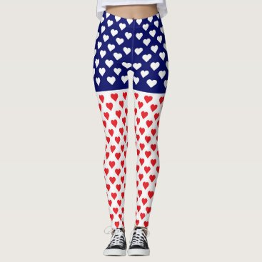 American Flag with Hearts Leggings