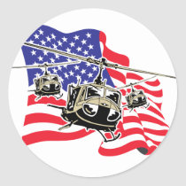 American Flag with Helicopters Classic Round Sticker