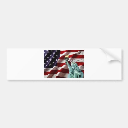 American Flag with Lady Liberty Bumper Sticker