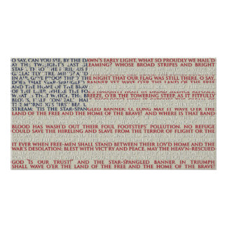 American Flag With National Anthem Poster