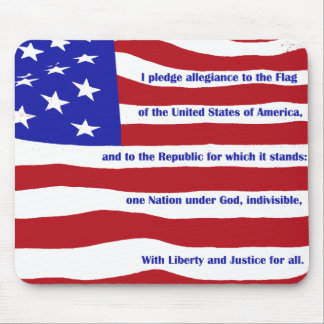 American flag with Pledge on stripes Mouse Pads