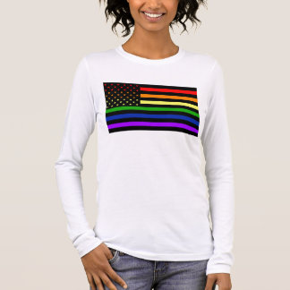 American Flag With Rainbow Colors Long Sleeve T-Shirt