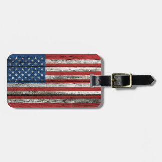 American Flag with Rough Wood Grain Effect Luggage Tag