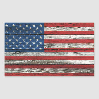 American Flag with Rough Wood Grain Effect Stickers