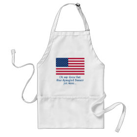 American Flag with Star Spangled Banner Quote Adult Apron