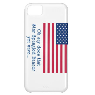 American Flag with Star Spangled Banner Quote Case For iPhone 5C