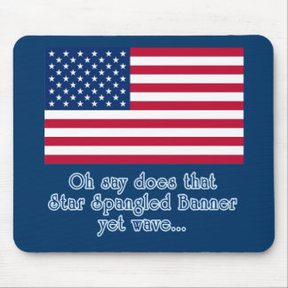 American Flag with Star Spangled Banner Quote Mouse Pad