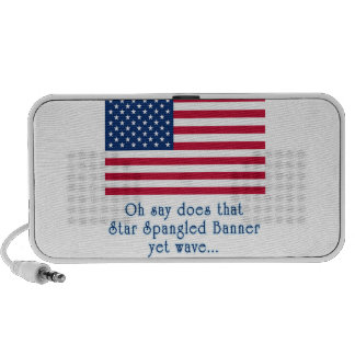 American Flag with Star Spangled Banner Quote Portable Speaker