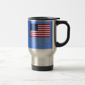 American Flag with Star Spangled Banner Quote Travel Mug