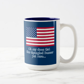 American Flag with Star Spangled Banner Quote Two-Tone Coffee Mug