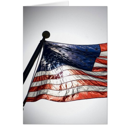 American Flag with Sun in the Background Card