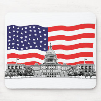 American Flag with The U.S. Capitol Building Mouse Pad