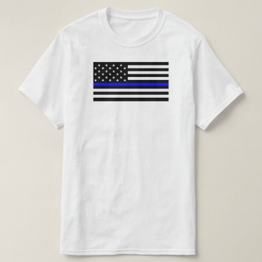 USA Themed American Flag With Thin Blue Line Support Police T-Shirt