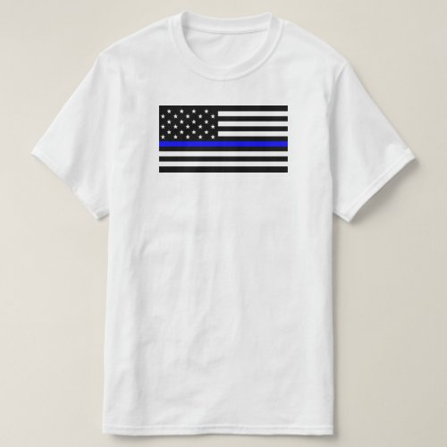 American Flag With Thin Blue Line Support Police T_Shirt