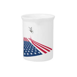 American flag with USA fighter plane taking off Drink Pitcher