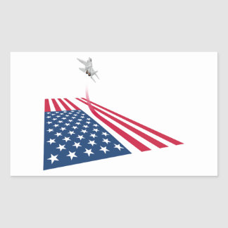 American flag with USA fighter plane taking off Rectangular Sticker