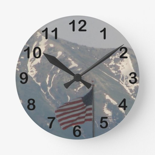 American Flag with Utah Mountain Background Wall Clocks